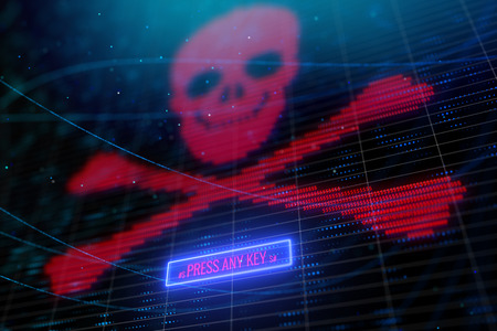 Glowing digital red skull background. Hacking and cyber risk concept. 3D Rendering