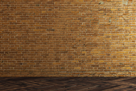 Interior with empty brick wall. Gallery concept. Mock up, 3D Rendering