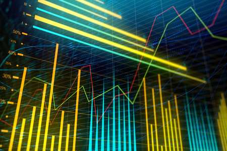 Analysis, statistics and finance concept. Bright glowing forex chart wallpaper. 3D Rendering