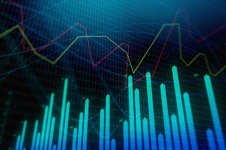 Analysis Statistics And Finance Concept Creative Glowing Forex Chart Wallpaper 3D Rendering