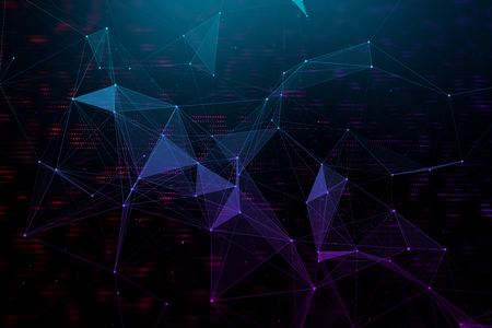 Creative digital polygonal texture. Blockchain and technology concept. 3D Rendering