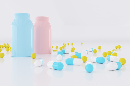 Creative medicinepillstablets wallpaper. Pharmacy and health concept. 3D Rendering