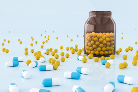 Creative medicinepillstablets background. Pharmacy and health concept. 3D Rendering