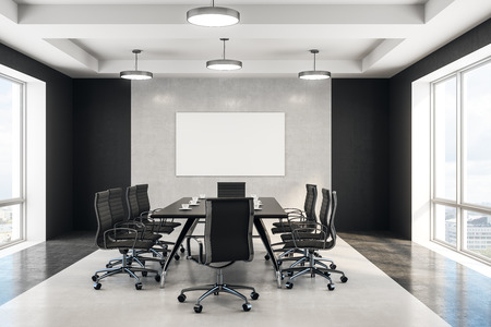 blank white poster in minimal style conference room with concrete wall and floor. 3d rendering Standard-Bild - 112765327