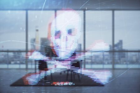 Cyber piracy hologram with minimalistic cabinet interior background. Double exposure. Hacking concept.