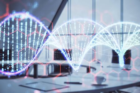 Double exposure of DNA hologram on conference room background. Concept of education