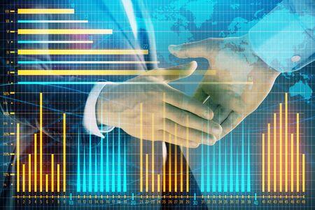 Exposition multiple du graphique forex et de la carte du monde sur fond abstrait avec poignée de main de deux hommes d'affaires. Concept de succès sur les marchés internationaux Banque d'images