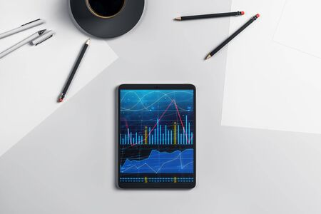 Digital tablet closeup top view with financial graph on screen. Online trading application concept. 3d rendering. Stok Fotoğraf