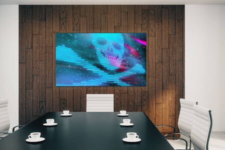 Conference room interior with hacking picture on screen monitor on the wall. Data safety concept. 3d rendering. 写真素材