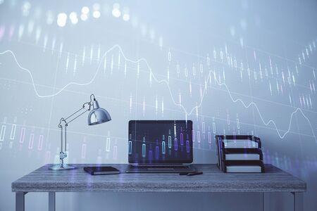 Gráfico del mercado de valores y fondo de computadora de oficina de escritorio. Exposición múltiple. Concepto de análisis financiero.