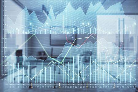 Business theme graph hologram with minimalistic cabinet interior background. Double exposure. Stock market concept. Archivio Fotografico