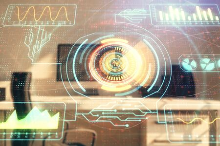Technology theme hologram and desktop office computer background. Double exposure. Concept of high technology