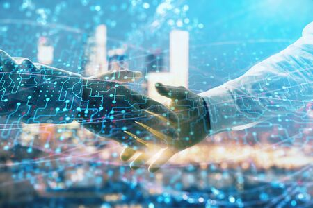 Double exposure of abstract technology drawing on cityscape background with two businessmen handshake. Concept of tech role in business Imagens - 127915154