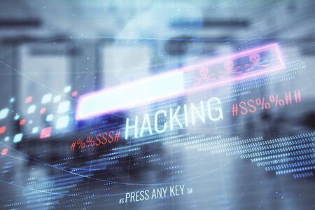 Hacking theme hologram with office interior on background. Double exposure. Concept of cyber piracy