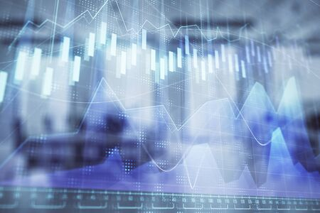 Stock market chart with trading desk bank office interior on background. Double exposure. Concept of financial analysis 版權商用圖片
