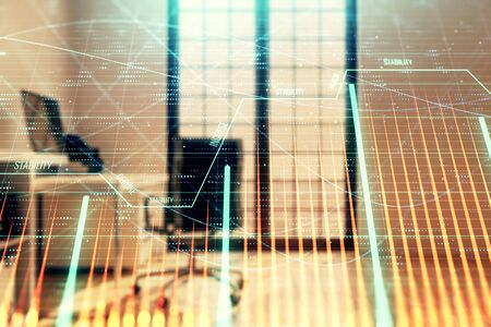 Forex chart hologram with minimalistic cabinet interior background. Double exposure. Stock market concept. 写真素材
