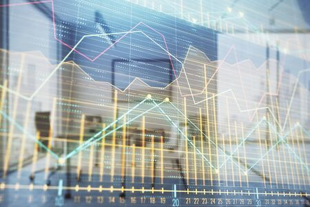 Business theme graph hologram with minimalistic cabinet interior background. Double exposure. Stock market concept. 写真素材