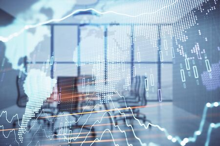 Double exposure of stock market graph with globe hologram on conference room background. Concept of international finance