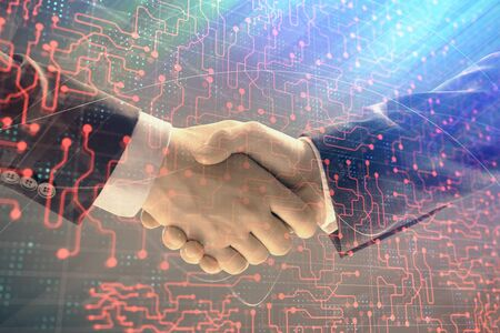Double exposure of tech drawing on abstract background with two men handshake. Concept of technology in modern business Imagens
