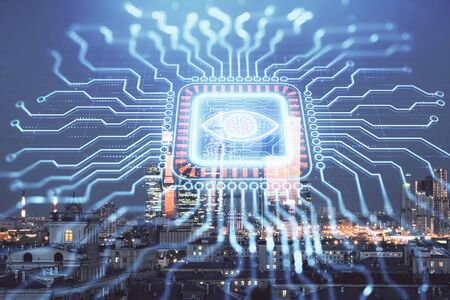 Double exposure of abstract technology drawing on cityscape background. Concept of tech innovation
