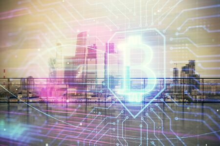 Blockchain theme hologram with city view from roof top background. Double exposure.