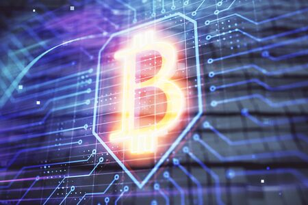 Bitcoin sign hologram with abstract background. Multi exposure. Blockchain concept.