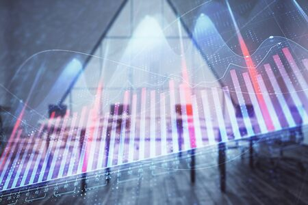 Double exposure of forex chart on conference room background. Concept of stock market analysis Banco de Imagens