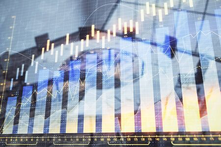 Double exposure of forex chart on conference room background. Concept of stock market analysis 写真素材