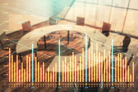 Double exposure of forex chart on conference room background. Concept of stock market analysis Imagens