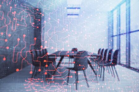 Double exposure of technlogy theme abstract hologram on conference room background. Concept of hightech