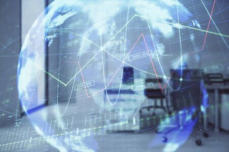 Stock and bond market graph and world map with trading desk bank office interior on background. Multi exposure. Concept of international finance