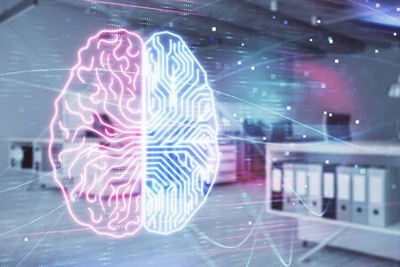 Human brain drawing with office interior on background. Double exposure. Concept of innovation. Foto de archivo