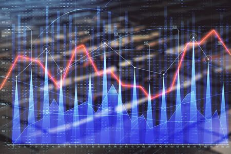 Financial chart hologram with abstract background. Double exposure. Concept of market analysis
