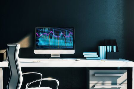 Cabinet desktop interior with financial charts and graphs on computer screen. Concept of stock market analysis and trading. 3d rendering. Standard-Bild - 128548050