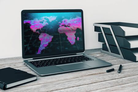 Laptop closeup with world map on computer screen. International education concept. 3d rendering.