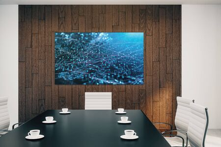 Conference room interior with abstract technology picture on screen monitor on the wall. Data innovation concept. 3d rendering.