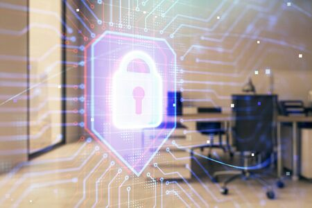 Lock icon drawing with office interior on background. Double exposure. Concept of data security