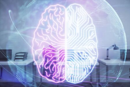 Human brain drawing with office interior on background. Double exposure. Concept of innovation. 写真素材