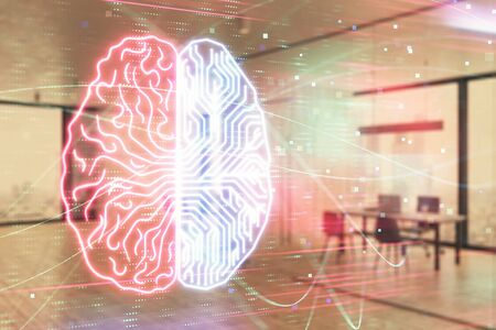 Human brain drawing with office interior on background. Double exposure. Concept of innovation. 版權商用圖片