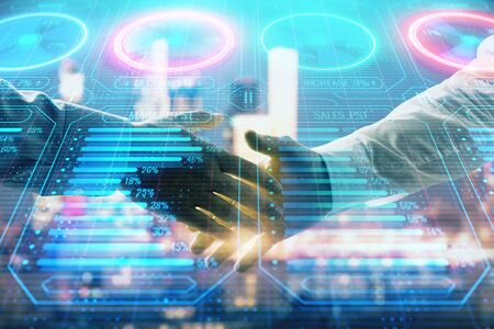 Double exposure of business theme drawing on cityscape background with handshake. Concept of partnership 版權商用圖片