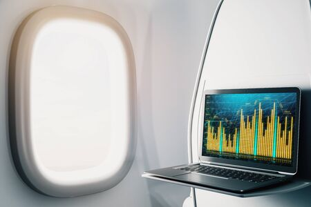 Laptop closeup inside airplane with forex graph on screen. Financial market trading concept. 3d rendering.