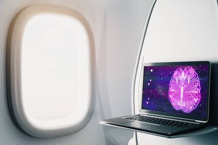 Laptop closeup inside airplane with brain drawing pic on screen. Data analysis and ai concept. 3d rendering. 스톡 콘텐츠