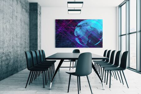 Conference room interior with world map on screen monitor on the wall. International market concept. 3d rendering. 스톡 콘텐츠
