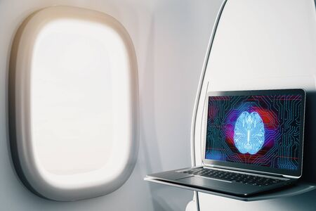 Laptop closeup inside airplane with brain drawing pic on screen. Data analysis and ai concept. 3d rendering. Stockfoto