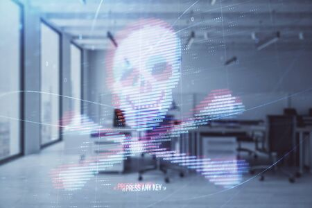 Hacking theme hologram with office interior on background. Double exposure. Concept of cyber piracy 免版税图像