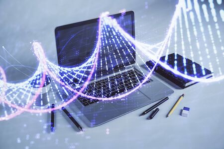 DNA hologram with desktop office background. Double exposure. Concept of education Stok Fotoğraf
