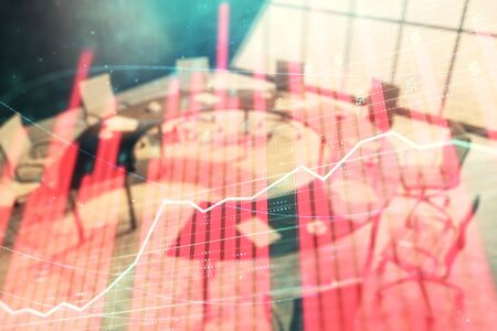 Double exposure of forex chart on conference room background. Concept of stock market analysis Фото со стока