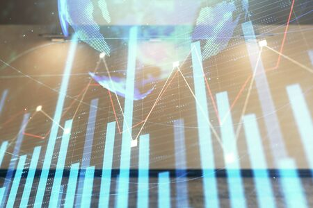 Double exposure of financial chart with world map on empty room interior background. International market concept. Фото со стока
