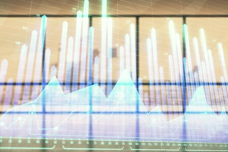 Double exposure of financial chart on empty room interior background. Forex market concept. Фото со стока