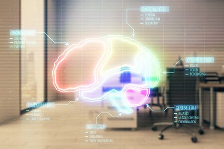 Brain icon hologram with office interior on background. Double exposure. Concept of education